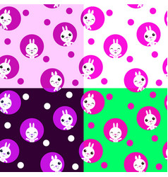 seamless pattern with kawaii rabbits easter vector image