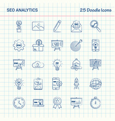 Seo analytics 25 doodle icons hand drawn business vector