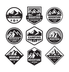 set adventure outdoor concept badges camping e vector image