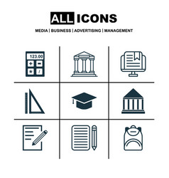 Set of 9 education icons includes haversack home vector
