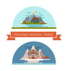 set of tourist hostels vector image