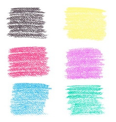 set wax crayon spots isolated on white vector image