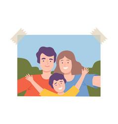 shot happy family making selfie using vector image