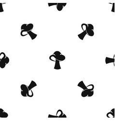 small mushroom pattern seamless black vector image
