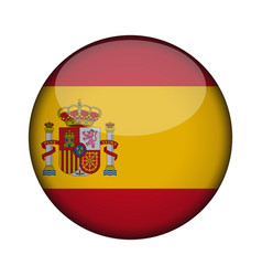 spain flag in glossy round button of icon spain vector image