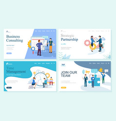 strategic partnership and time management set vector image