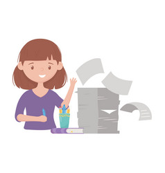 stress at work businesswoman with pile of vector image