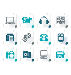 Stylized electronics media technical equipment vector