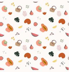 summer seamless pattern with watermelon papaya vector image