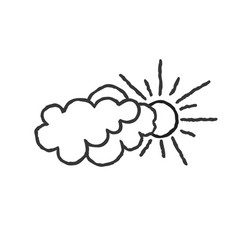 Sun with clouds icon doodle line art weather sign vector