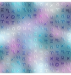 Symbols of zodiac on blurred background vector