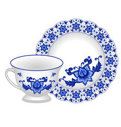 tea pair for porcelain tea party set in vector image