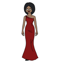 the funny exotic woman in a red dress vector image