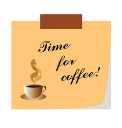 time for coffee note - business communication vector image