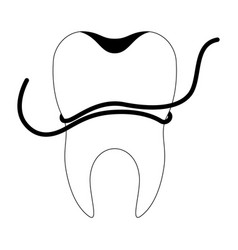 Tooth with root and dental floss around in black vector