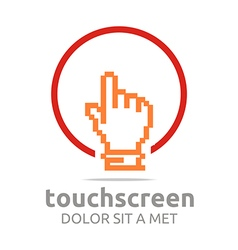Touch screen app hand circle symbol vector
