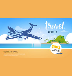 Travel Company Template Voucher With Airplane Vector