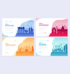 travel information brochure card set landscape vector image