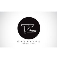 Tz modern leter logo design with black and white vector