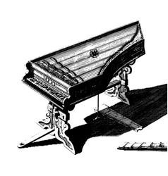 vintage engraving a vintage piano vector image