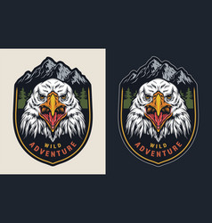 Vintage wild adventure colorful emblem vector