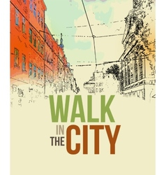 walking in city poster template vector image