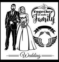Wedding muslim couple silhouette groom and bride vector