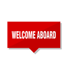 Welcome aboard red tag vector