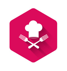 White chef hat and crossed fork icon isolated with vector