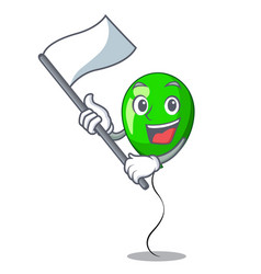 With flag green balloon on character plastic stick vector