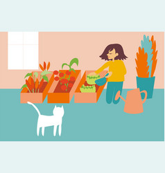 Woman cultivating organic and fresh vegetables in vector