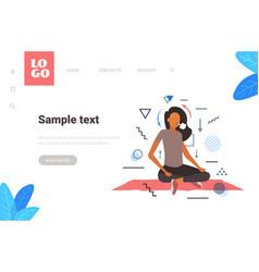 Woman sitting lotus pose girl breathing oxygen vector