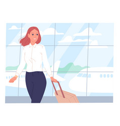 young woman with a suitcase at airport against vector image