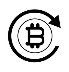 bitcoin sign currency with round arrow vector image