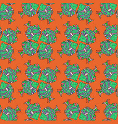 fishes on orange green and neutral seamless cute vector image