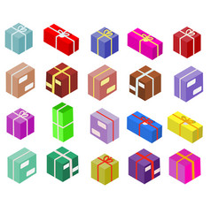 isometric boxes isolated on white icons vector image vector image
