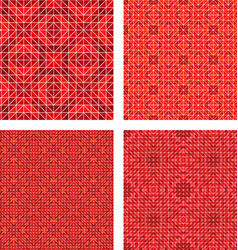 Red seamless mosaic pattern design background set vector