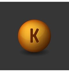 Vitamin K Orange Glossy Sphere Icon on Dark vector image vector image