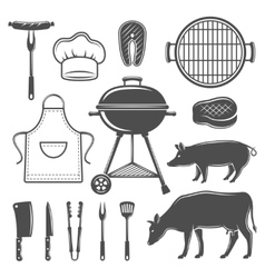 Bbq decorative graphic flat icons set vector