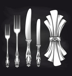 cutlery and doily sketch chalkboard poster vector image