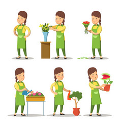female florist cartoon set woman gardening vector image vector image