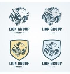 Lion logos badges emblems set vector image