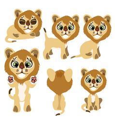 little lion cub sitting standing and lying vector image vector image