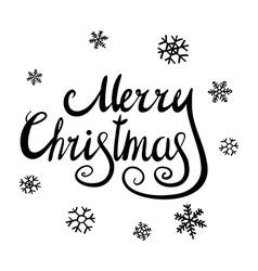 Merry Christmas black glittering lettering design vector image