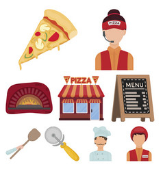 pizza and pizzeria set icons in cartoon style big vector image vector image