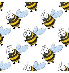 Seamless pattern of fat little honey bees vector