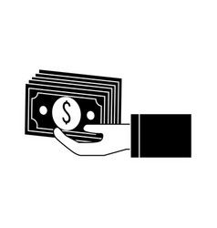 Silhouette hand with bill money vector