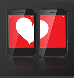two cell phones with one heart on screen vector image