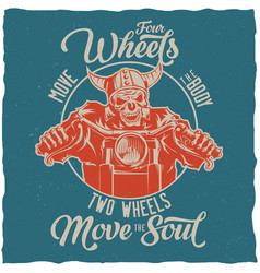 biker t-shirt label design vector image vector image
