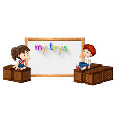 border template with boy and girl on box vector image vector image